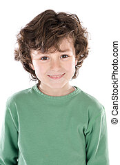 Small handsome boy a over white background