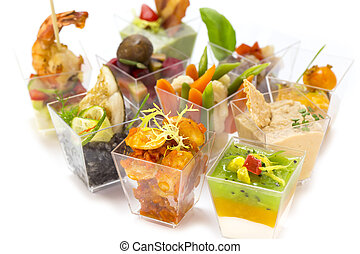 Canapes - mini canape with meat and vegetables on a white...