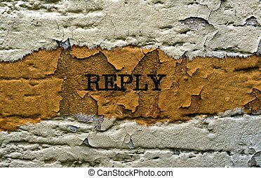 Reply text on grunge background