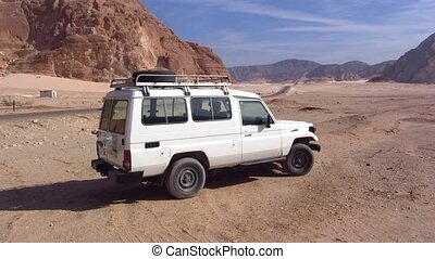 Jeep in the desert in Egypt