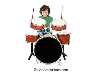 Child playing a drum  a over white background