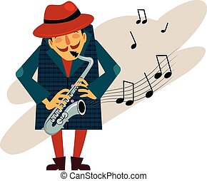 Saxophonist Playing Love Melody Vector - Saxophonist playing...