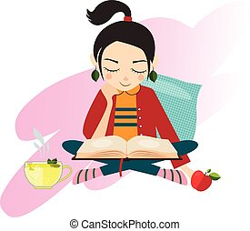 Illustration Young Girl Reading Book