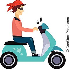 Hipster Young Man Characters Riding Fast Retro Scooters