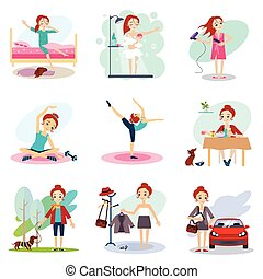 Daily Routine Vector set with cute girl illustration