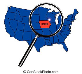Iowa state outline set into a map of The United States of...