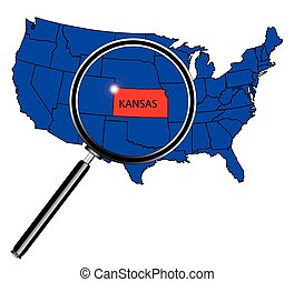 Kansas state outline set into a map of The United States of...