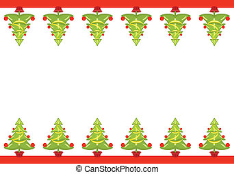 Christmas seamless border with decorated trees over white...