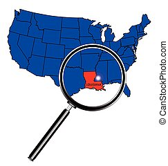 Louisiana state outline set into a map of The United States...