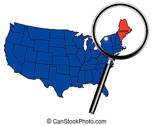 Maine state outline set into a map of The United States of...