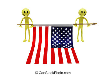 Two smilies holding US flag