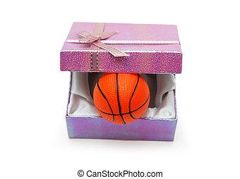 baloncesto, regalo, caja, aislado, blanco