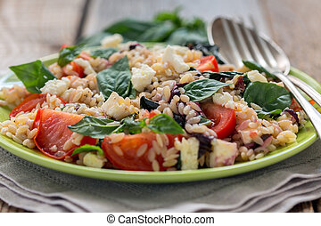 Orzo pasta with basil, tomatoes and cheese - Orzo pasta with...