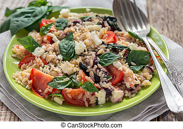 Orzo pasta with tomato, basil - Orzo pasta with tomato,...