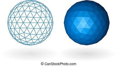 Wireframe polyginal sphere. - Polygonal geosphere. The...
