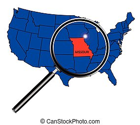 Missouri state outline set into a map of The United States...