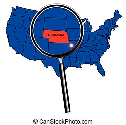 Nebraska state outline set into a map of The United States...
