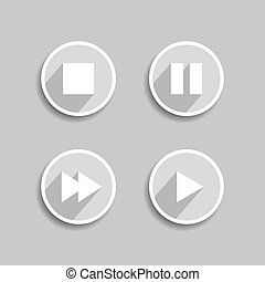 Set of different media icons. Vector
