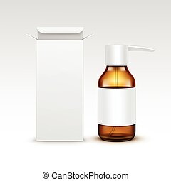 Vector Blank Medicine Medical Glass Spray Bottle Packaging...