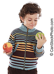 child with eating two apples