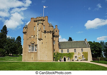 Medieval Scottish castle in bright summer day
