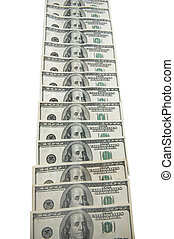 Dollar bank notes isolated on the white