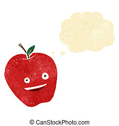 cartoon happy apple with thought bubble