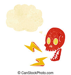 cartoon crazy skull with thought bubble