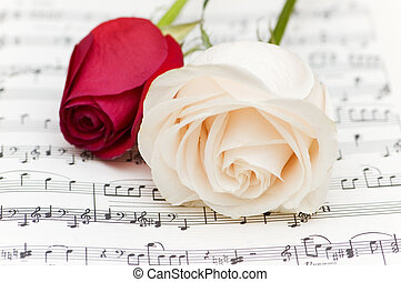 White and red roses on musical notes page