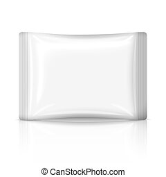 Blank flat plastic sachet isolated on white background with...