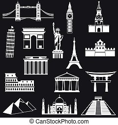 World famous buildings abstract silhouettes - vector...