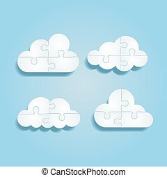Set of different puzzle clouds. Vector