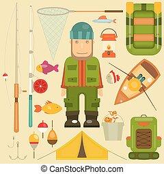 Fishing Set: Fisherman and Equipment for Fishing: Fishing...