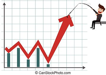 Business man pulling graph to going up growth trend Cartoon...