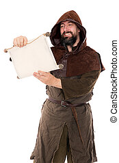 medieval man is reading aloud a old aged scroll - a medieval...