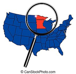 Minnesota state outline inset set into a map of The United...