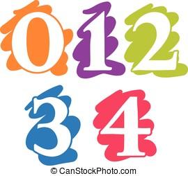 Colour doodle splash numbers digits 01234 - Colour doodle...