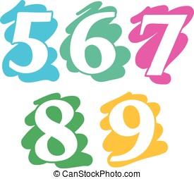 Colour doodle splash numbers digits 56789 - Colour doodle...