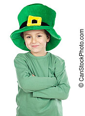 Child with green hat a over white background