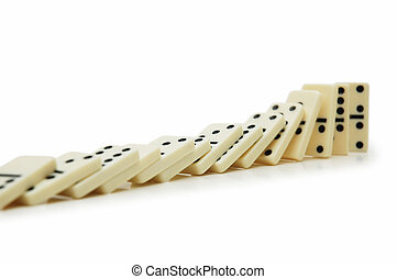 Domino effect - dominos isolated on the white - Domino...