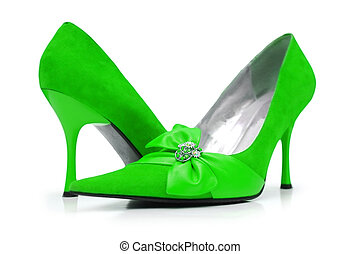 Green woman shoes isolated on white