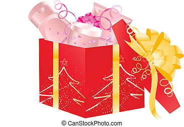 Christmas open gift with cosmetics - Christmas open gift box...
