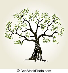 Vector Color Olive Tree with green leafs. - Vector Color...