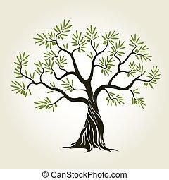 vettore, colorare, oliva, albero, con, verde, leafs.,