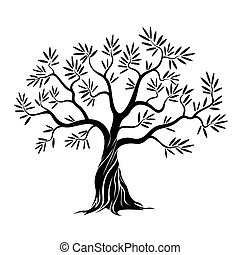 vettore, oliva, albero.,
