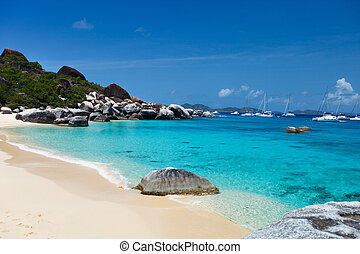 Spring bay at Virgin Gorda, BVI - Stunning beach with white...