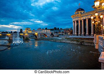 View on Stone bridge from Oko bridge in Skopje in the...