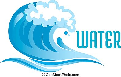 Blue ocean wave with foam bubbles and surf isolated on white...