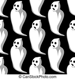 Terrifying white ghosts seamless pattern - Terrifying white...