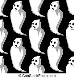 Terrifying white ghosts seamless pattern - Terrifying white...